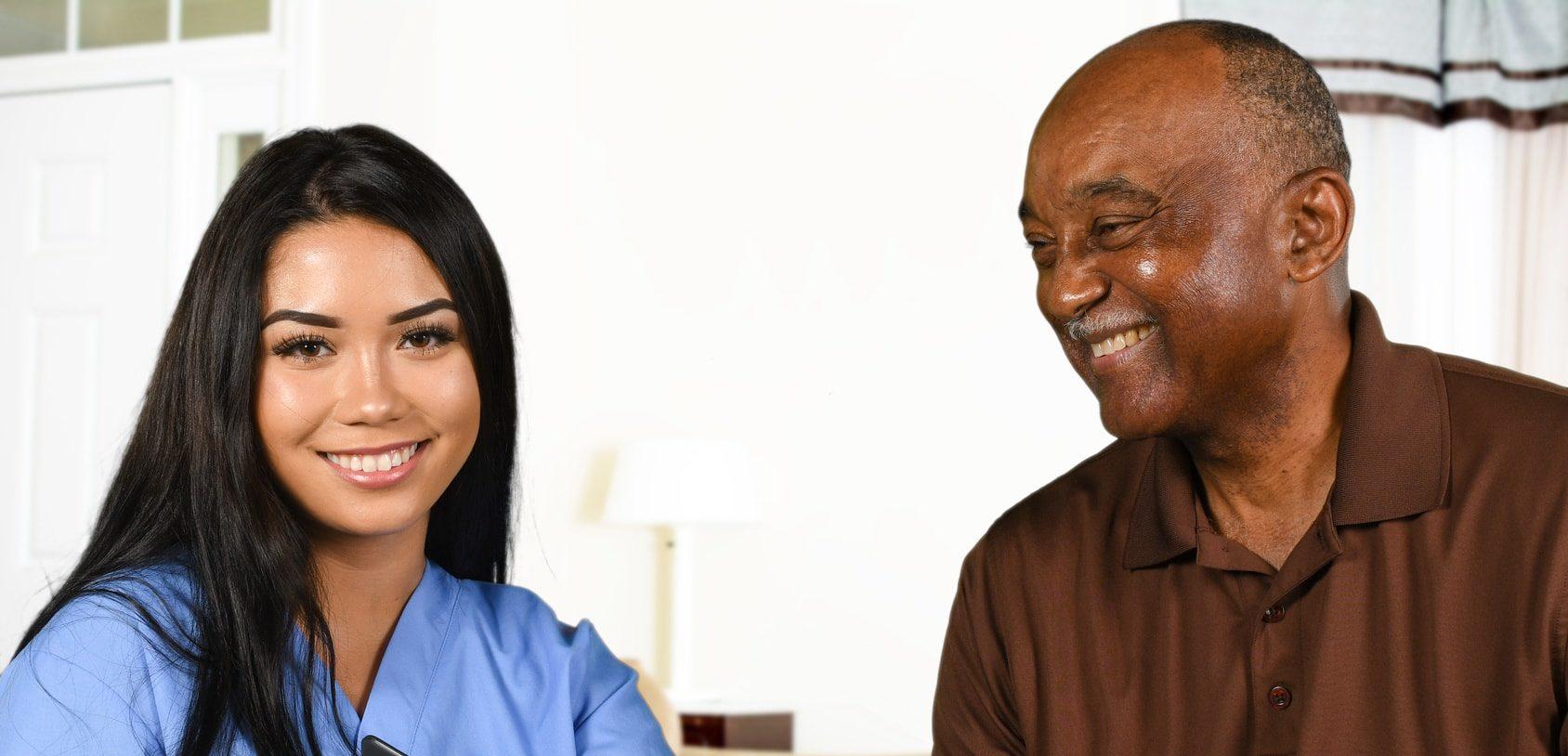 open door home care senior care nurse with a patient